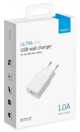 все цены на Сетевое зарядное устройство Deppa 11301 1A USB белый