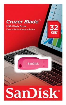 Флешка USB 32Gb SanDisk Cruzer Blade SDCZ50C-032G-B35PE розовый флешка usb 32gb sandisk sdcz50c 032g b35ge зеленый