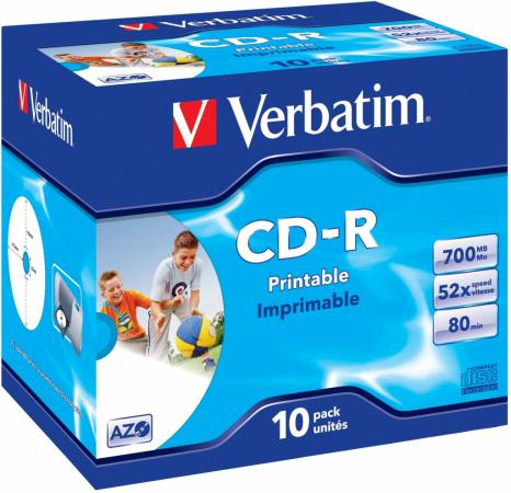 Диски CD-R 700Mb 52x Jewel 10шт Printable Verbatim 43325/4 original new print head for epson l120 l210 l220 l300 l335 l350 l355 l365 l381 l455 l550 l555 l551 xp300 xp400 xp405 printhead