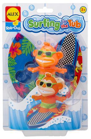 Резиновая игрушка для ванны ALEX Серфинг 884ST пластмассовая игрушка для ванны alex полярный медвежонок 11 см 841b