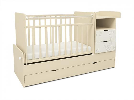 Кроватка с маятником СКВ-5 Жираф (бежевый-белый/550039-1) 2 коробки кроватка ковчег скв 9 94003x