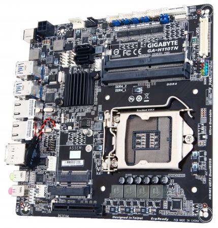 Материнская плата GigaByte GA-H110TN(-E) Socket 1151 H110 2xDDR4 1xPCI-E 4x 2xSATAIII mini-ITX Retail материнская плата gigabyte ga j1800n d2h mini itx ac 97