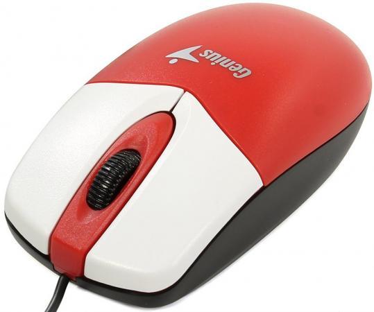 Мышь проводная Genius DX-165 красный белый USB