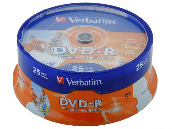 Диски DVD-R Verbatim 16x 4.7Gb CakeBox 25шт Photo Printable 43538 диски cd dvd thunis dvd r dvd r 16x 25