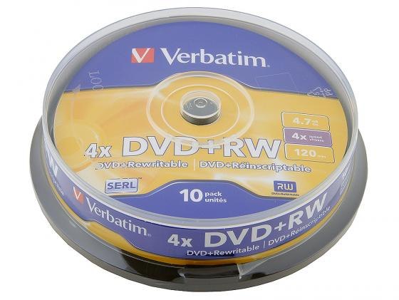 Диски DVD+RW Verbatim 4x 4.7Gb CakeBox 10шт Matt Silver Serl 43488 жертвуя пешкой dvd
