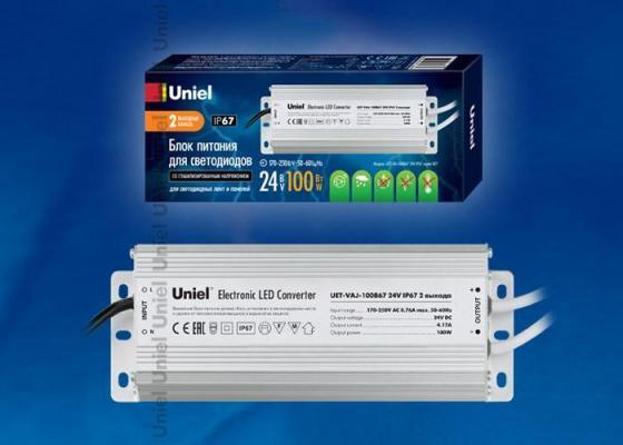 Блок питания для светодиодов Uniel (10589) 100W 4мА IP67 UET-VAJ-100B67 цена