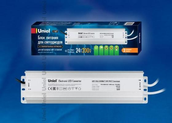 Фото - Блок питания для светодиодов Uniel (10591) 200W 8,3мА IP67 UET-VAJ-200B67 блок питания для светодиодов uniel 10590 150w 6 25ма ip67 uet vaj 150b67