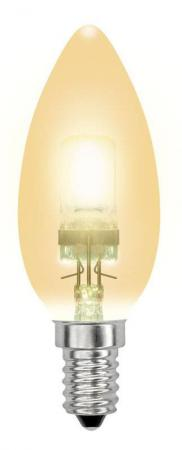 Лампа галогенная свеча Uniel 04119 E14 42W HCL-42/CL/E14 candle gold лампа энергосберегающая 03861 e14 12w gold свеча на ветру витая золотая esl c21 tw12 gold e14