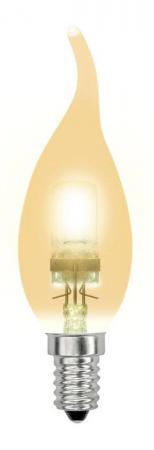 Лампа галогенная свеча Uniel 04121 E14 42W HCL-42/CL/E14 flame gold лампа энергосберегающая 03861 e14 12w gold свеча на ветру витая золотая esl c21 tw12 gold e14