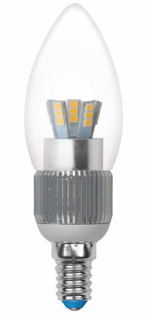 Лампа светодиодная свеча Uniel Cryslal Dimmable E14 5W 4500K LED-C37P-5W/NW/E14/CL/DIM