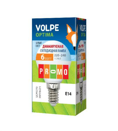 Лампа светодиодная шар Volpe 10701 E14 6W 3000K LED-G45-6W/NW/E14/FR/DIM/O e27 6w 540 lumen 3000k smd 6 led warm white light bulb 85 240v ac