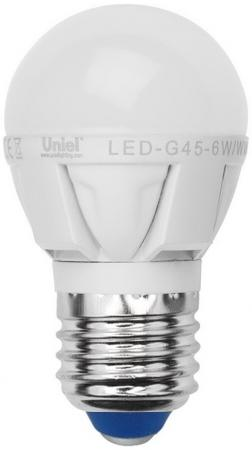 Лампа светодиодная шар Uniel Palazzo E27 7W 3000K LED-G45-7W/WW/E27/FR PLP01WH лампочка uniel vintage led g95 4w golden e27 теплый свет 4 вт светодиодная