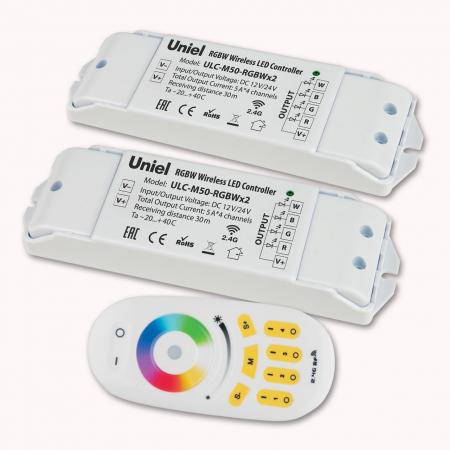 Контроллер для светодиодных лент 12/24В с пультом ДУ 2,4 ГГц (11108) Uniel ULC-M50-RGBWx2 White цены