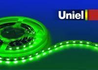 Светодиодная лента Uniel (04816) 5M зеленый 72W ULS-5050-60LED/m-10mm-IP20-DC12V-14,4W/m-5M-GREEN светодиодная лента uniel 04875 5m зеленый 72w uls 5050 60led m 10mm ip65 dc12v 14 4w m 5m green