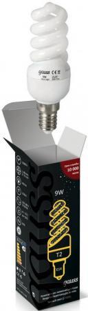 Лампа энергосберегающая Е14 9W 2700К спираль Т2 матовая 171109