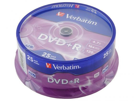 цена на Диски DVD+R Verbatim 16x 4.7Gb CakeBox 25шт Azo 43500