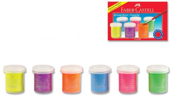Гуашь Faber-Castell 160403 6 цветов краски faber castell гуашь флуоресцентные цвета 6 шт