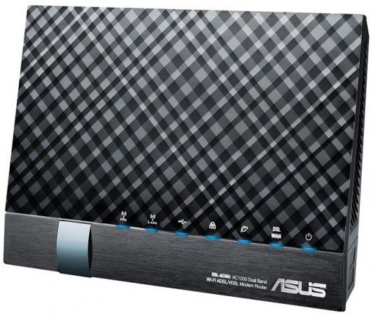 Беспроводной маршрутизатор ADSL ASUS DSL-AC56U 802.11aс 1167Mbps 5 ГГц 2.4 ГГц 4xLAN USB черный маршрутизатор asus rt n56u 802 11n 300mbps 5 ггц 4xlan usb usb черный