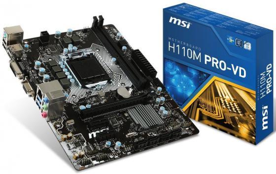 Материнская плата MSI H110M PRO-VD Socket 1151 H110 2xDDR4 1xPCI-E 16x 2xPCI-E 1x 4 mATX Retail мат плата для пк gigabyte b360m h socket 1151 v2 b360 2xddr4 1xpci e 16x 1xpci e 1x 4xsataiii matx retail