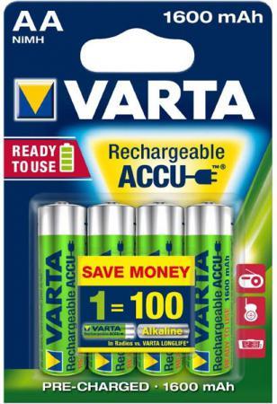 Аккумуляторы 1600 mAh Varta R2U AA 4 шт аккумуляторы varta r2u aa 2400 мач
