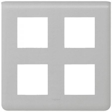 Рамка Legrand Mosaic алюминий 79338 legrand mosaic кнопка перекидная 6a с индикацией 1 модуль алюминий