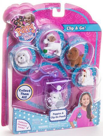 Игровой набор Just Play Puppy in my Pocket - Брелок-сумочка со щенками 6 предметов фиолетовый play doh игровой набор магазинчик домашних питомцев