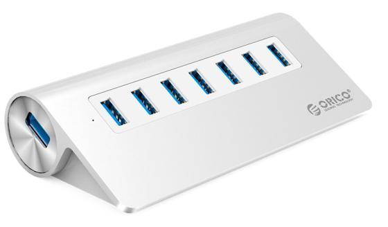 Концентратор USB 3.0 Orico M3H7-SV 7 x USB 3.0 серебристый концентратор usb orico h73 серебристый usb 3 0 x 7 адаптер питания