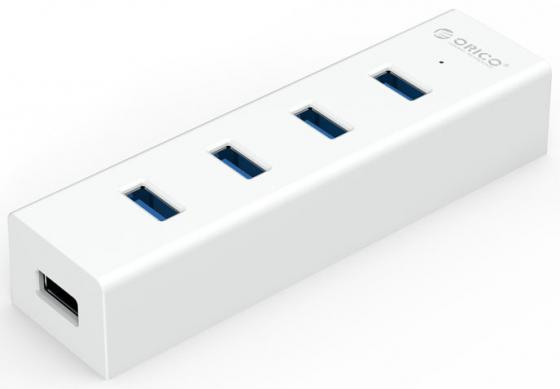 Концентратор USB 3.0 Orico H4013-U3-WH 4 х USB 3.0 белый orico lha u3 bk 4 port usb 3 0 hub with cable management