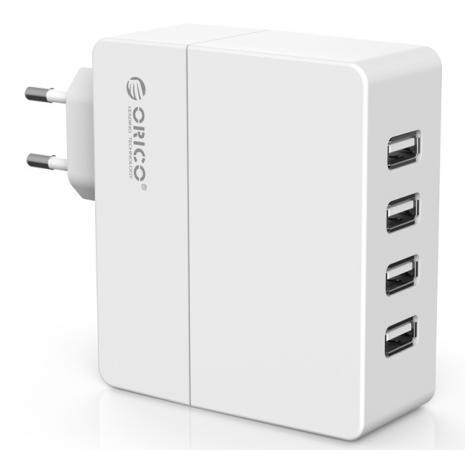 Сетевое зарядное устройство Orico DCA-4U-WH 1/2.4 А 4 x USB белый сетевое зарядное устройство orico cha 4u eu gy 4 x usb 2 4а серый
