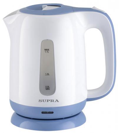 Чайник Supra KES-1724 2200 Вт белый синий 1.7 л пластик чайник supra kes 1724 2200 вт 1 7 л пластик белый синий