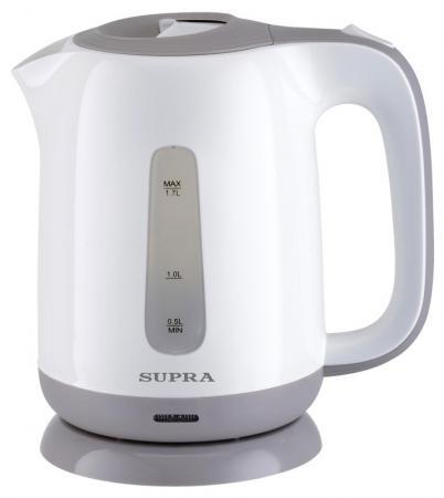 Чайник Supra KES-1724 2200 Вт 1.7 л пластик белый серый чайник supra kes 1724 2200 вт 1 7 л пластик белый синий