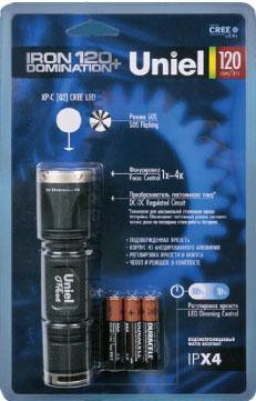 Ручной светодиодный фонарь Uniel (03812) от батареек 123х34 185лм P-ML074-PB Black ручной светодиодный фонарь uniel 03248 от батареек 30 лм s ld014 c silver