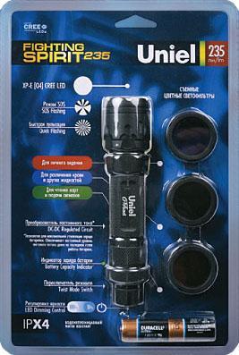 Ручной светодиодный фонарь Uniel (03813) от батареек 152х32 235 лм P-ML075-PB Black ручной светодиодный фонарь uniel 03248 от батареек 30 лм s ld014 c silver