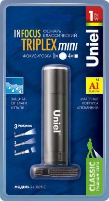 Ручной светодиодный фонарь Uniel (06644) от батареек 50 лм S-LD028-C Black ручной светодиодный фонарь uniel 03248 от батареек 30 лм s ld014 c silver