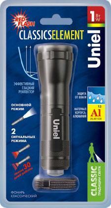 Ручной светодиодный фонарь Uniel (06646) от батареек 60 лм S-LD036-C Black ручной светодиодный фонарь uniel 03248 от батареек 30 лм s ld014 c silver
