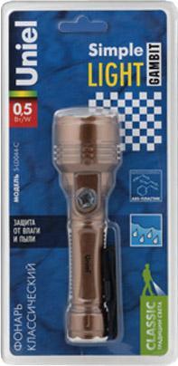 Ручной светодиодный фонарь Uniel (UL-00000205) от батареек 148х44 35 лм S-LD044-C Brown ручной светодиодный фонарь uniel ul 00000206 от батареек 148х44 35 лм s ld044 c silver