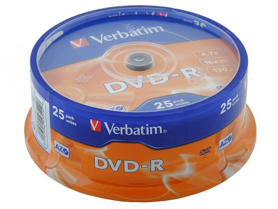 Диски DVD-R Verbatim 16x 4.7Gb CakeBox 25шт 43522 цены