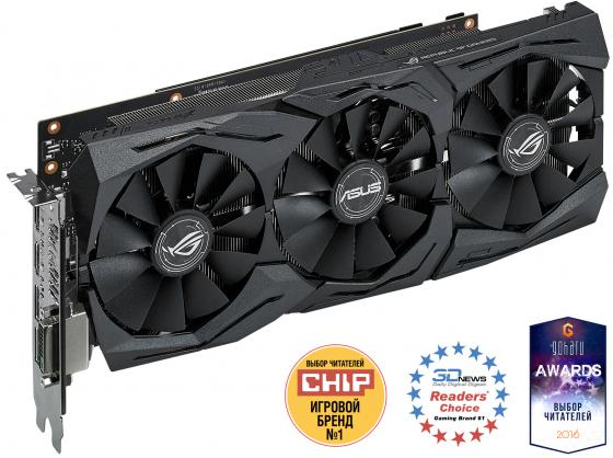 Видеокарта 8192Mb ASUS ROG GeForce GTX1070 PCI-E 256bit GDDR5X DVI HDMI DP STRIX-GTX1070-8G-GAMING Retail видеокарта 8192mb msi geforce gtx 1080 gaming x 8g pci e 256bit gddr5x dvi hdmi dp retail