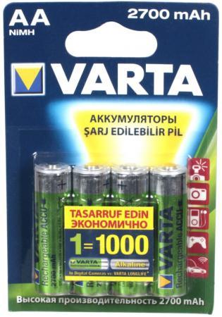Аккумуляторы 2700 mAh Varta LR6/MR6 AA 4 шт аккумуляторы 2600 mah varta r2u aa 4 шт
