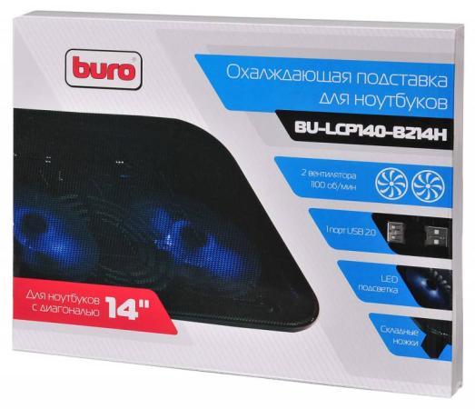 """цена на Подставка для ноутбука 14"""" Buro BU-LCP140-B214H металл/пластик 1100об/мин 20db черный"""
