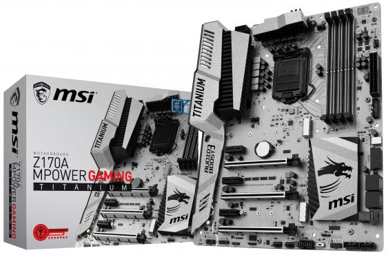 Материнская плата MSI Z170A MPOWER GAMING TITANI Socket 1151 Z170 4xDDR4 3xPCI-E 16x 3xPCI-E 1x 6xSATAIII ATX mpower 1502 1pcs zip
