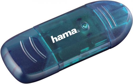 Картридер внешний Hama H-114730 USB2.0 синий 00114730 картридер внешний hama h 91092 usb2 0 прозрачный 00091092