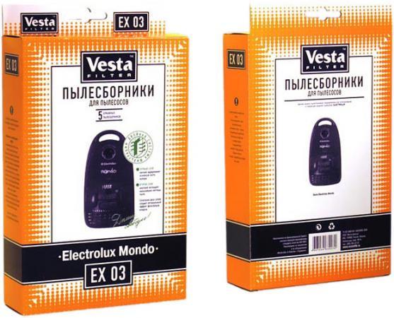 Бумажные пылесборники Vesta filter EX 03, для пылесосов(см описание), 5 шт в упаковке + фильтр vesta mx 03 5