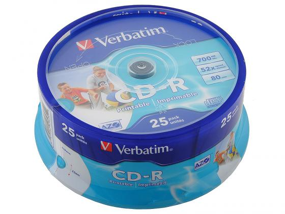 Диски CD-R Verbatim 700Mb 52x CakeBox 25шт Printable 43439 цены