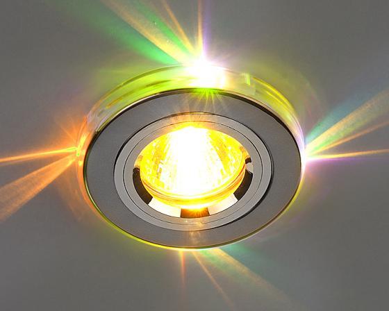 Встраиваемый светильник с двойной подсветкой Elektrostandard 2060 MR16 хром/мульти 4607176194722 elektrostandard встраиваемый светильник с двойной подсветкой elektrostandard n4 s g4 multi мульти 4690389003189