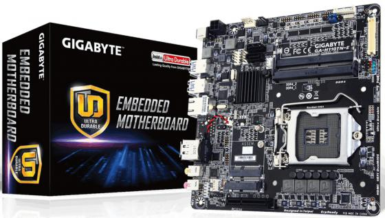 Материнская плата GigaByte GA-H110TN-E Socket 1151 H110 2xDDR4 1xPCI-E 4x 2xSATAIII mini-ITX Retail материнская плата пк gigabyte ga f2a68hm ds2 rev 1 0 ga f2a68hm ds2
