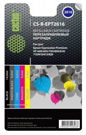 Картридж Cactus CS-R-EPT2616 для Epson Expression Home XP-600/605/700/800 цветной t2621 t2631 t2632 t2633 t2634 refillable ink cartridge for epson expression premium xp 600 xp 605 xp 700 xp 800 printer