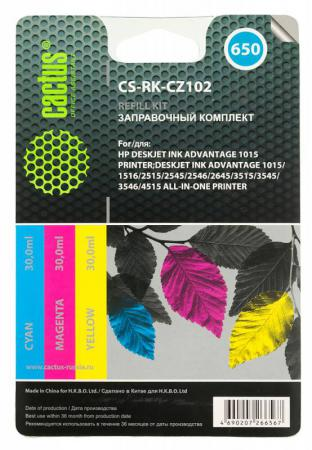 Заправка Cactus CS-RK-CZ102 для HP DeskJet 2515/3515 цветной 90мл заправка cactus cs rk f6v24ae для hp deskjet ink advantage 1115 2135 3635 3835 4535 цветной 90мл