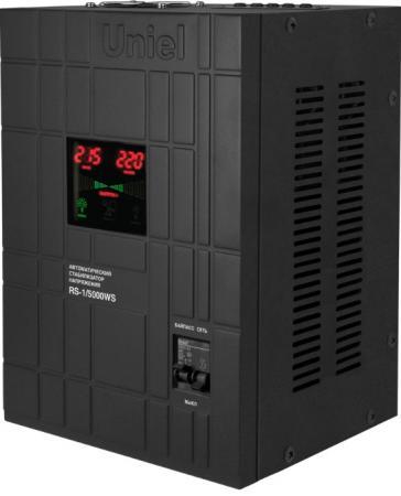 Стабилизатор напряжения Uniel (07383) 5000ВА RS-1/5000WS стабилизатор напряжения uniel 03107 500ва rs 1 500