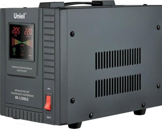 Стабилизатор напряжения Uniel (09496) 500ВА RS-1/500LS стабилизатор напряжения uniel 03107 500ва rs 1 500